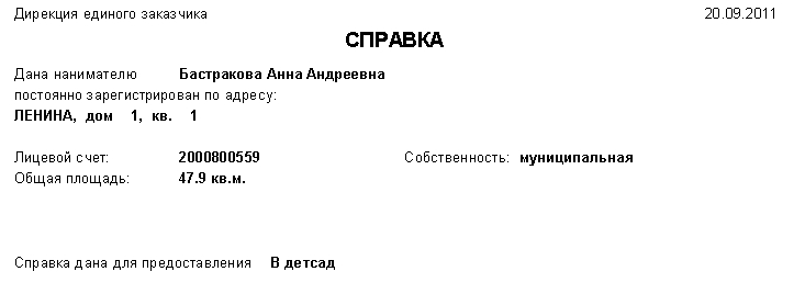 Пример 168 отчета
